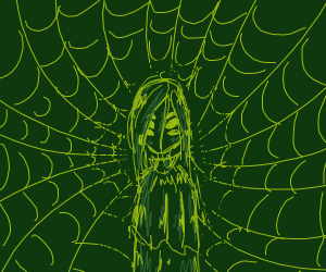 girl surrounded with spider webs