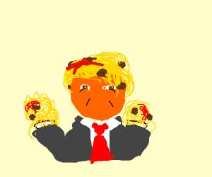 Donald Trump's hands and head are spaghetti