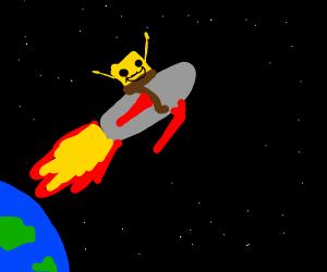 SpongeBob flies a rocket away from Earth.