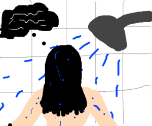 lady with black hair thinks in the shower