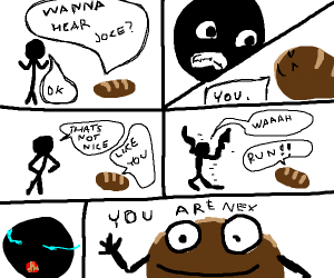 man ANGRE at bread