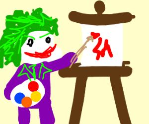 The Joker painting on eisel, green hair