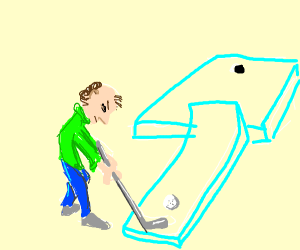 Guy in greensweater playing minigolf
