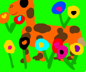 Giraffe is in field of flowers