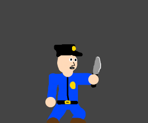 cop with a knife
