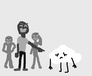 cloud kid getting bullied by a human kid
