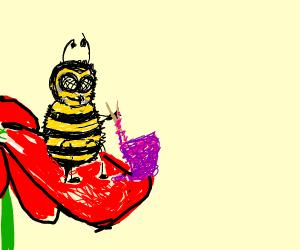 bee knitting on a flower petal