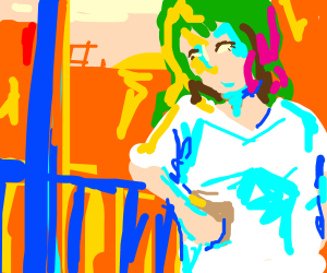 A woman with dyed hair on porch at sunset