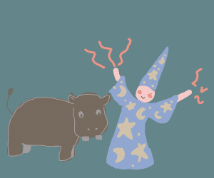 a wizard and a hippo