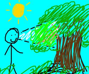 a man staring at a tree