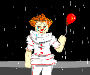 sad clown in rain