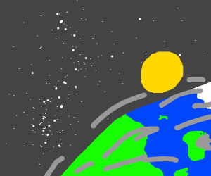 Earth an moon in space