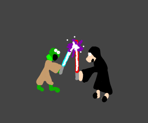 Kermit and Miss Piggy in epic Lightsaber Duel