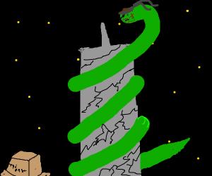 Snake destroyed a building