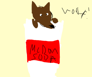 Dog dressed like a McDonald's soda cup