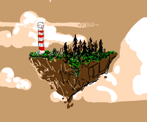 floating island with a lighthouse
