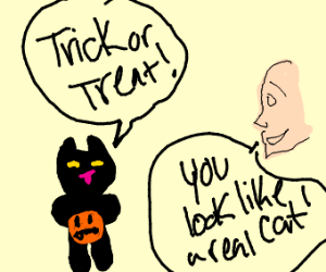 sneaky cat goes trick or treating