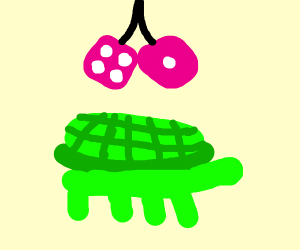 fuzzy dice over a small turtle