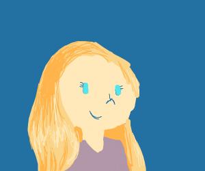 blonde haired blue eyed woman on blue bg
