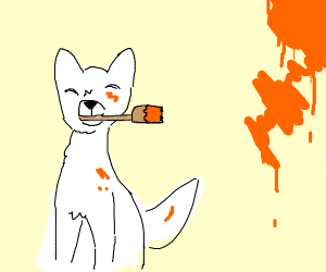 A white dog paints the background orange.