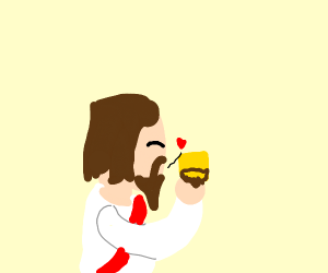 jesus kisses cheese with beard