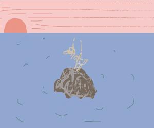 Skeleton Bird on rock