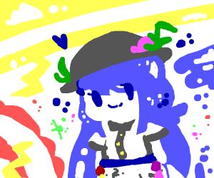 Cute anime girl with blue hair