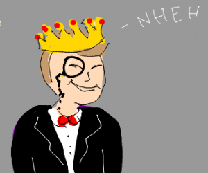 Fancy guy wearing a crown with a cheeky smile