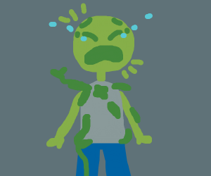 dude w/ plants on him has panic attack :(