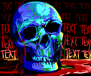 Dead thing surrounded by text.