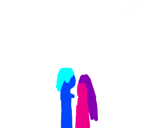 A silhouette of a cute anime couple
