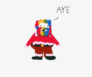 santa with rainbow hair saying AYE