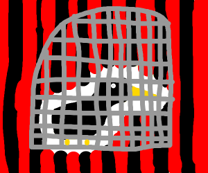 Caged bird scared of red and black background