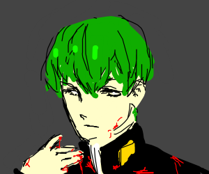 bloody boi with green hair
