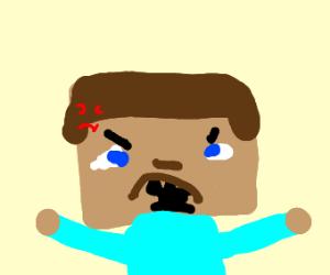 angry cube head man