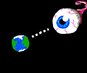 detailed giant eye in space staring at earth