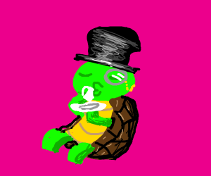 A dapper, snazzy lil turtle drinking his tea