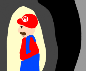 Mario emerging from a dark cave