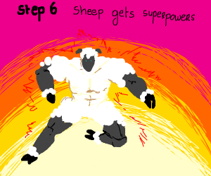 Step5: one sheep just takes it