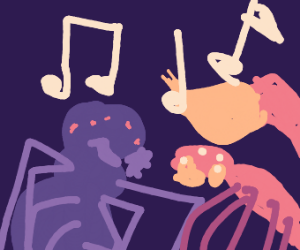 An arachnid belting out a stupid song.