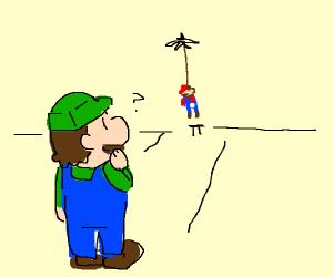 luigi watches mario hang himself