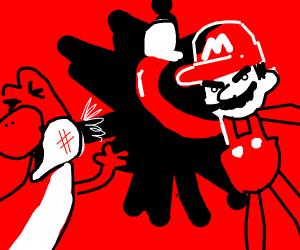 Mario attacks Yoshi