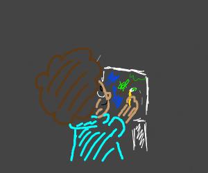 bob ross paints a green little bug