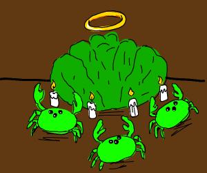 Alien crabs worshiping lettuce