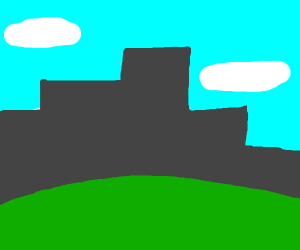 silhouette of grey city, view from green hill