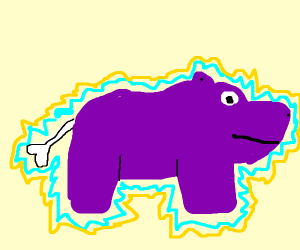 electric purple hippo with bone tail