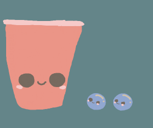 A cup with 2 marbles
