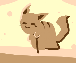 Old cat with cane