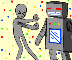 alien and robot have a party