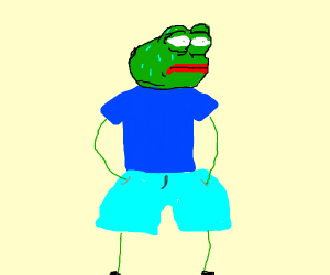 MonkaS in big blue shorts